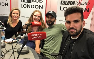 Mete Coban (far right) with MLMS colleagues at BBC Radio London.