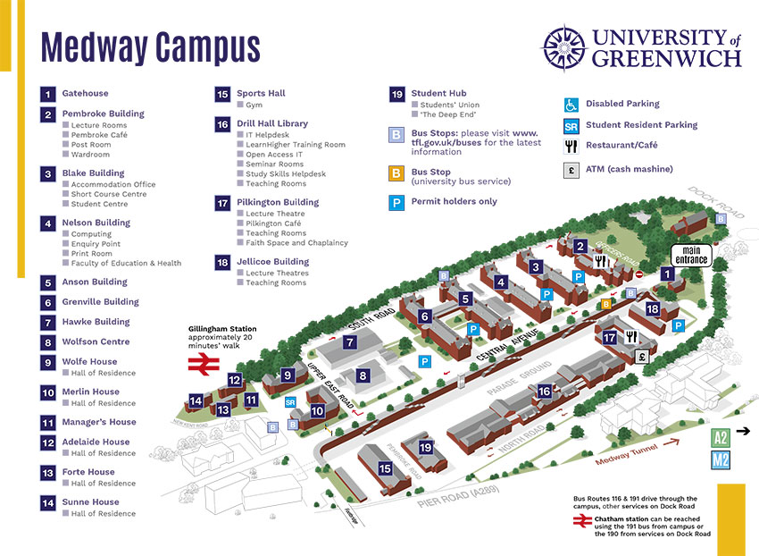 Medway Campus Map Alumni University Of Greenwich